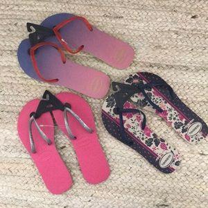 Set of Three NWT Havianas Sandals
